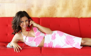 Picture red, sofa, model, skirt, makeup, actress, brunette, hairstyle, lies, blouse, phone, photoshoot, smiling, A Word …