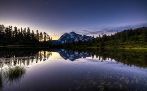 Picture forest, mountain, lake, sunrise