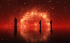 Picture water, reflection, stars, deep red, the three