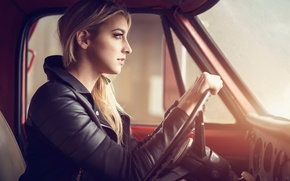 Picture girl, cabin, driving