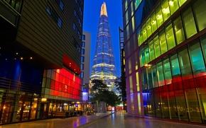 Picture night, lights, England, London, tower, skyscraper, Shard