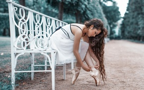 Picture ballerina, bench, Pointe shoes