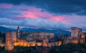 Picture the sky, the evening, Spain, Granada, Alhambra, Alhambra