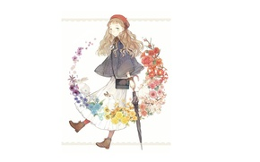 Picture umbrella, shoes, girl, rabbits, white background, bag, wreath, Cape, takes, art, knitted, Seuga