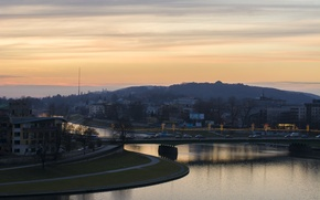Picture light, trees, sunset, mountains, the city, river, building, home, ate, Poland