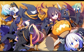 Picture girls, pumpkin, broom, ears, Touhou, witch hat