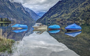 Picture forest, clouds, mountains, lake, shore, boats, tarpaulin