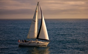 Picture the ocean, yacht, horizon, CA, sails, Pacific Ocean, California, The Pacific ocean