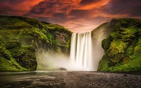Picture the sky, sunset, mountains, nature, river, waterfall, Iceland, Iceland, Skogafoss, Skogarfoss