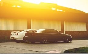 Picture white, black, Nissan, white, GT-R, black, skyline, Nissan, R34, skyline
