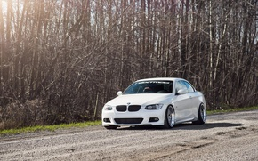 Picture BMW, White, BMW, Drives, E92, 3 series, Stance