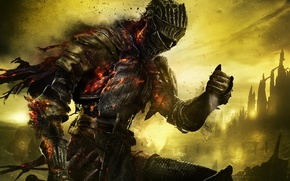 Wallpaper the sky, armor, warrior, knight, armor, holes, Namco Bandai Games, From Software, Dark Souls 3