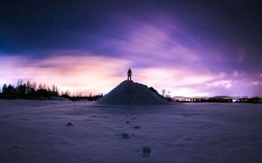 Wallpaper mountain, people, the sky, stars, winter