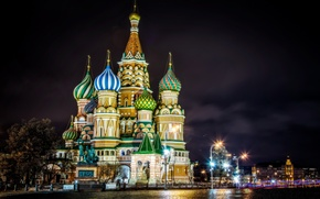 Picture night, lights, lighting, Moscow, St. Basil's Cathedral, Moscow, Red Square, monument to Minin and Pozharsky