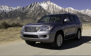 Picture road, auto, mountains, the way, movement, speed, track, jeep, lexus, Lexus, new, lx570