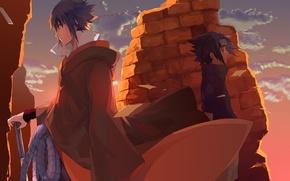Wallpaper weapons, naruto, naruto, boy, rope, art, guy, torsion, anime, sword, clouds, the sky, uchiha sasuke
