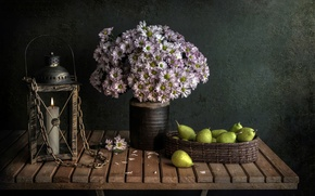 Picture table, candle, bouquet, pear, Candlelight