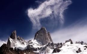 Wallpaper cloud, snow, Mountains