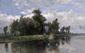 Picture water, trees, landscape, nature, picture, Channel, Carlos de Haes