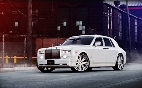 Picture white, the building, Phantom, the fence, white, Rolls Royce, front view, Phantom, Rolls Royce