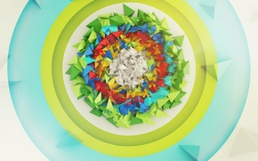 Picture abstraction, triangles, round, pyramid, target, render, digital art
