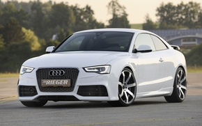 Picture white, background, Audi, tuning, coupe, Audi, drives, Coupe, tuning, the front, S-Line, Rieger