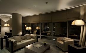 Wallpaper design, style, room, sofa, interior, chair, apartment, dark, leather