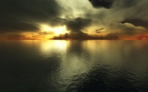 Wallpaper clouds, the evening, water, The ocean, the sun, sunset