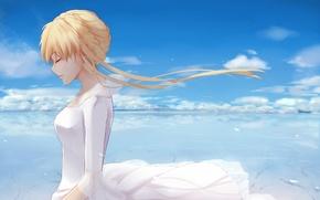 Picture the sky, girl, anime, art, Aldnoah Zero, Bellum