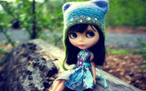 Wallpaper eyes, hat, doll, dress, log