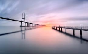 Picture bridge, reflection, pierce, Vasco da Gama