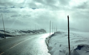 Wallpaper light, snow, clouds, frost, the sky, road