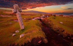 Picture cross, the sky, field, stone, stream