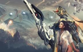 Picture look, girl, trees, fire, smoke, robot, ships, art, sci-fi, destruction