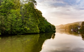 Picture trees, river, hills, shore, yachts, boats, UK, houses, Darth, River Dart