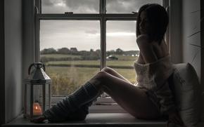 Picture girl, window, pillow, legs, leg warmers