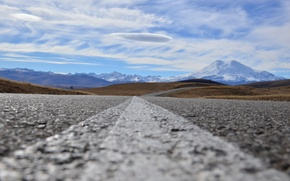 Picture road, clouds, Elbrus, Gil-Su
