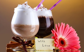 Picture flower, foam, note, cinnamon, drinks, cocktails, tube, gerbera, chocolate, with love, cocktails
