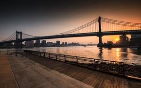 Wallpaper New York, Sunrise, Brooklyn, Williamsburg Bridge, East River, Manhattan Bridge