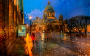 Picture nature, the city, rain, the evening