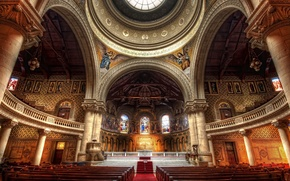 Picture beauty, Church, columns, the dome, benches, icons