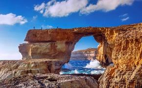 Picture sea, people, rocks, island, Malta, Gozo, Gozo, Dwejra Beach