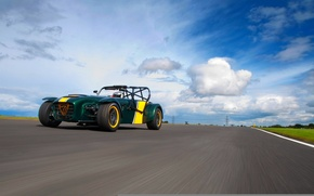 Picture The sky, Clouds, Road, Caterham, The front, Superlight, R600