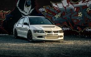 Picture Mitsubishi, Lancer, Evolution, graffiti, White, VIII