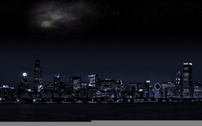 Picture Lights, Night, The city, Stars, Skyscrapers, Building, Skyscrapers, Megapolis