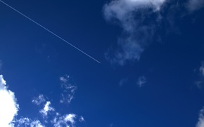 Picture the sky, clouds, the plane, trail, 154