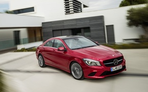 Picture road, red, house, Mercedes, red, house, Mercedes, road, the bushes, bush, CLA, 220