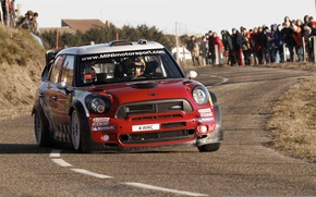 Picture Red, Road, People, Race, Red, Mini Cooper, WRC, Rally, MINI, Mini Cooper