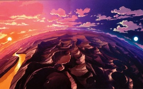 Picture anime, color, planet