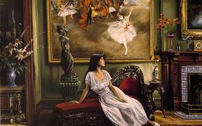 Wallpaper portrait, Harry McCormick, girl, room, art